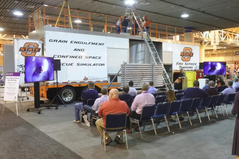 Oklahoma State University giving a demonstration on grain entrapment.