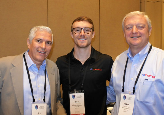 From left, Ivo Kleric, Molinos Modernos S.A., visits with CETEC representatives Michael Richardson and Gerald Richardson.