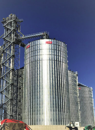 Chief Agri, Kearney, Nebraska, U.S., through its dealer Yagel Grain Systems LLC, supplied the grain handling and storage equipment for an expansion project at Central Indiana Ethanol in Marion, Indiana, U.S. Photo courtesy of Chief Agri.