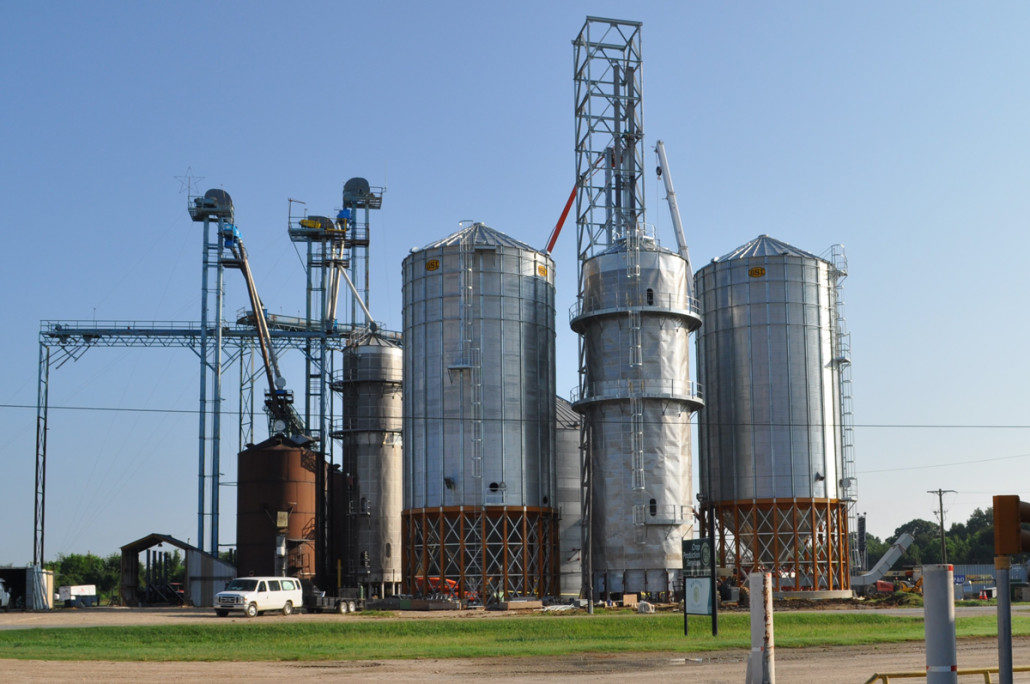 Big River Rice and Grain's elevator in Crowville, Louisiana