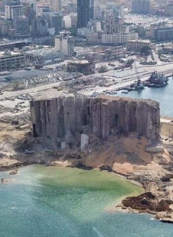 Grain silos in Port of Beirut