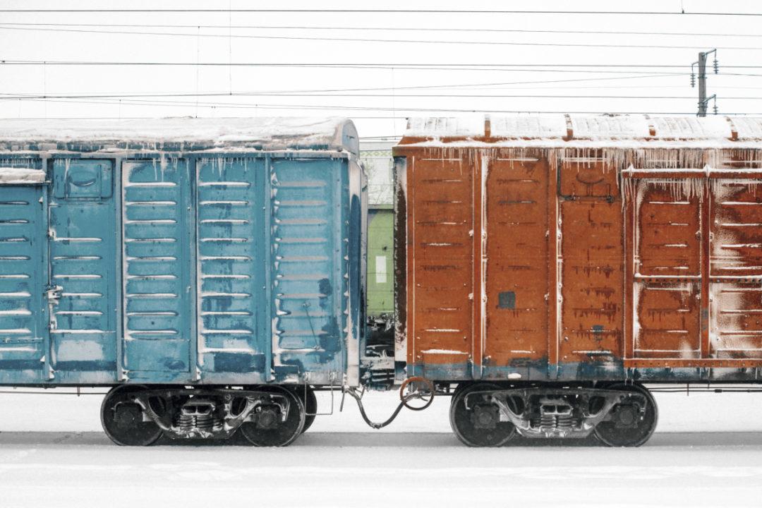 frozen rail cars