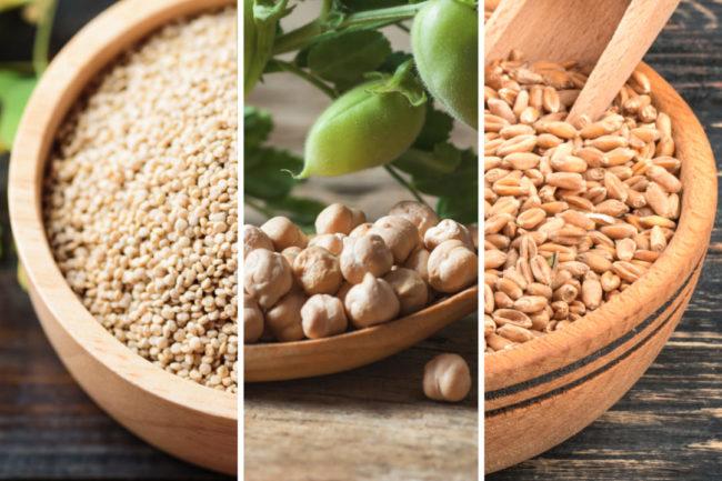 quinoa chick peas wheat