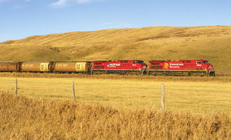 Canadian pacific train wheat field photo courtesy of canadian pacific e