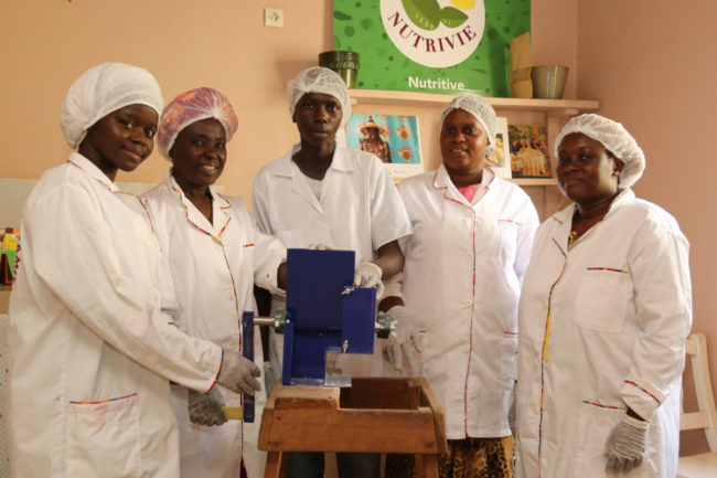 A women's group in Senegal that uses Bountifield's Ewing Multi-Crop Grinder to make many of their value-added products, including cookies made from millet and corn. Photo courtesy of Bountifield.