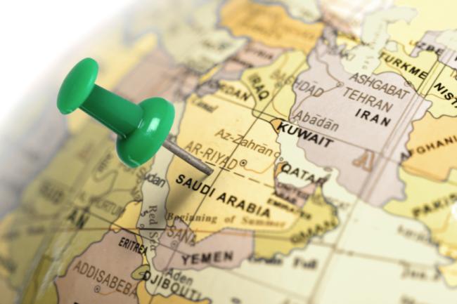 Saudi Arabia marked on a globe