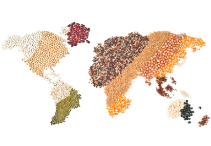 World map of grains