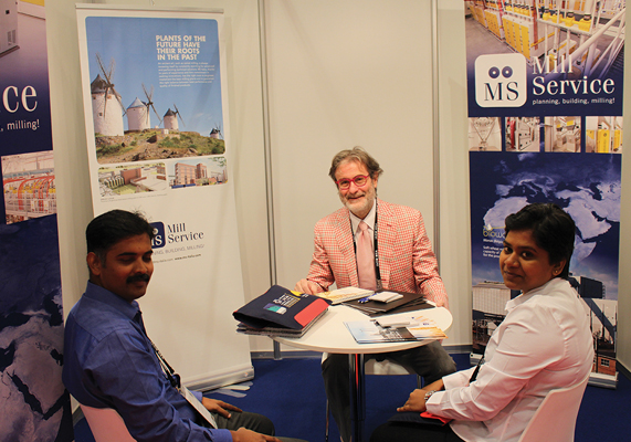 Paolo Carrin of Mill Service meets visitors during the expo.