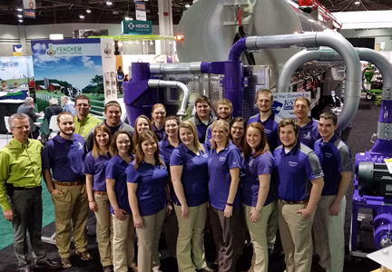 The whole feed mill group from Kansas State University visited the Walinga Inc. booth during the International Production and Processing Expo for a group photo with their new central-vac system.